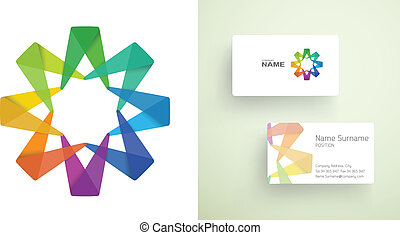 Business card presentation template with abstract colorful vector business card with abstract colorful element flashek Choice Image