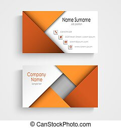 Business card with abstract orange triangles template
