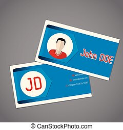 Business card with blue arrow ribbon