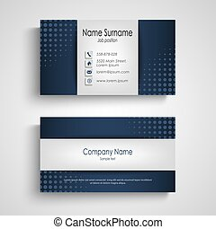 Business card with blue halfone effect template