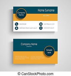 Business card with blue orange stripes template