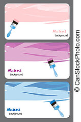 Business card with Blue paint brush andk paint. Vector illustration.