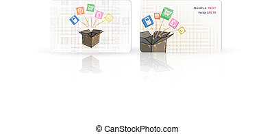 Business card with box.