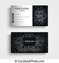 Business card with dark abstract triangles template