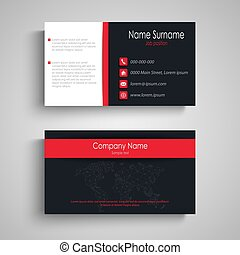 Business card with dark red design effects