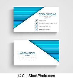 Business card with different blue strips template