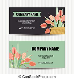 Business card with flower templates