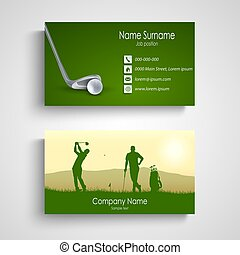 Business card with green golf design template