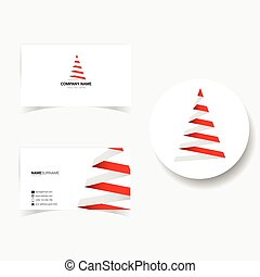 business card with illustration of christmas tree
