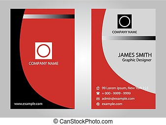 Business card with red color