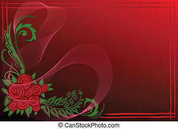 Business card with red roses