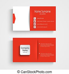Business card with red white background template