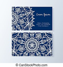 Business card with stylish modern floral pattern
