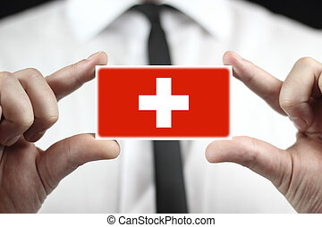 business card with Switzerland Flag