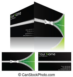 Business Card with Zipper - illustration of front and back...
