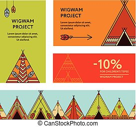 Tepee with native american kid illustrations and clip art 18 tepee business cards and promotional flyers with wigwams colourmoves