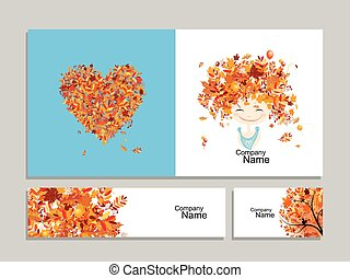 Business cards, autumn girl for your design