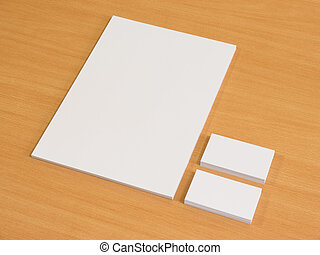 Business cards blank mockup with a pile of papers
