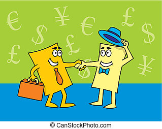 Vector illustration of cartoon business cards closing the deal.