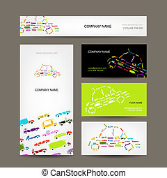 Business cards collection with cars sketch for your design