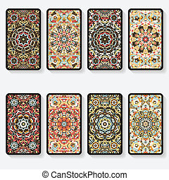 business cards collection with kaleidoscope pattern - vector...