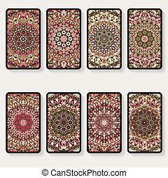 business cards collection with kaleidoscope pattern