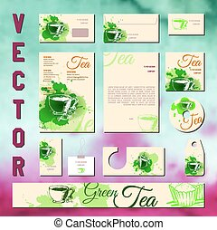 Business cards collection with tea concept design.