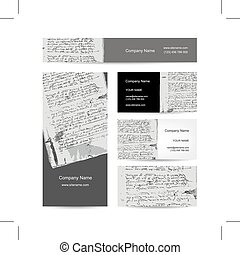 Business cards design, ancient letter on old grunge paper