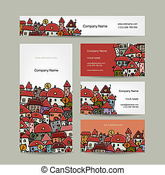 Business cards design, cityscape sketch. Vector illustration
