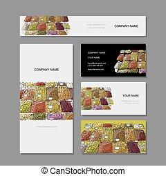 Business cards design, fruit market sketch