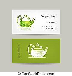 Business cards design, green trea sketch