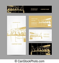 Business cards design, kitchen sketch