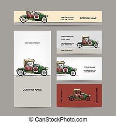 Business cards design, retro car