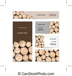 Business cards design, stack of wood