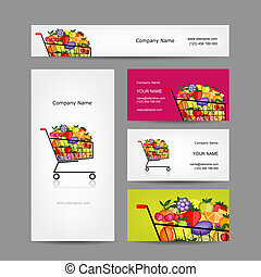 Business cards design, trolley with fruits, vector ...