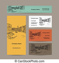 Business cards design, Venice city sketch