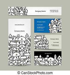 Business cards design, winter cityscape sketch. Vector illustration