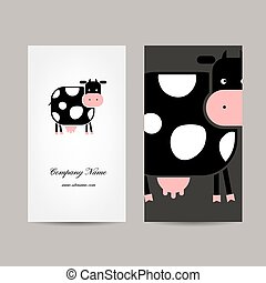 Business cards design with funny cow