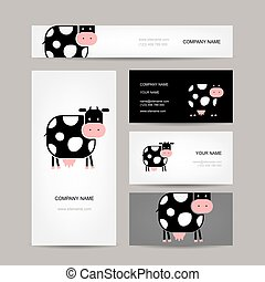 Business cards design with funny cow. Vector illustration