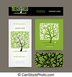 Business cards design with love tree