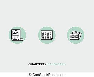 Business cards flat illustration Set of line modern icons