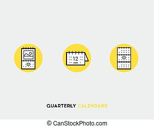 Business cards flat illustration Set of line modern icons