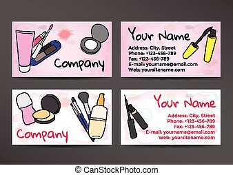 Business cards in watercolor style with the image of cosmetics