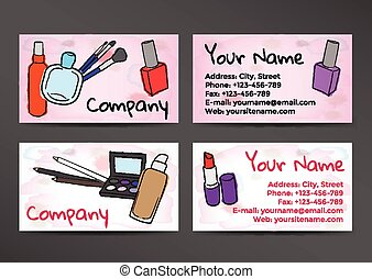 Business cards design cosmetics and accessories clip art vector business cards in watercolor style with the image of cosmetics colourmoves