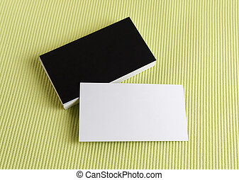Business cards on a green background