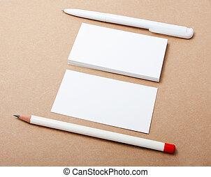 business cards, pencil, pen