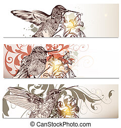 Business cards set with humming birds - Vector set of floral...