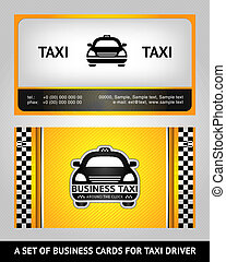 Business cards taxi, vector template 10 eps