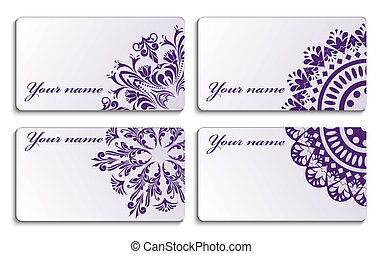 Business cards with an ornament