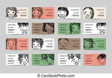 Business cards with cute girls for your design